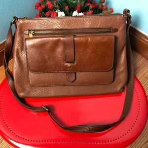 Fossils brown leather bag